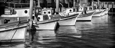 Row Boat Digital Art - Bows Out Black And White by Scott Campbell