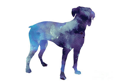 Boxer Dog Mixed Media - Boxer Art Print Silhouette Watercolor Painting by Joanna Szmerdt