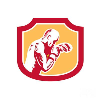 Jab Digital Art - Boxer Boxing Jabbing Punch Side Shield Retro by Aloysius Patrimonio