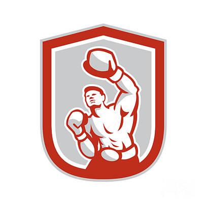 Jab Digital Art - Boxer Boxing Punching Jabbing Circle Retro by Aloysius Patrimonio