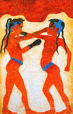 Boxing Digital Art - Boxer Boys Painting by Antony McAulay