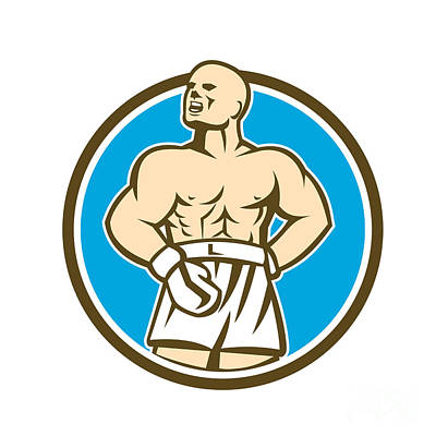 Boxer Digital Art - Boxer Champion Shouting Circle Retro by Aloysius Patrimonio