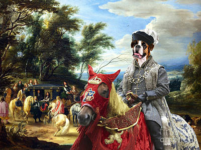 Boxer Painting - Boxer Dog Art - Philippe Francois Arenberg Meeting Troops by Sandra Sij