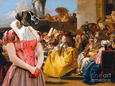 Boxer Painting - Boxer Dog Art - The Royal Dance by Sandra Sij