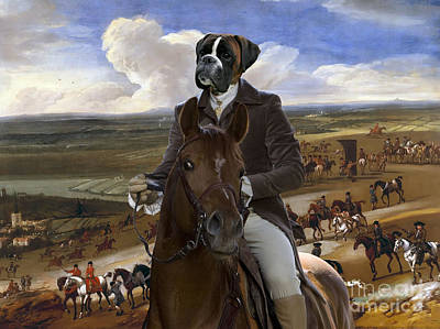 Boxer Painting - Boxer Dog Art - The Warren Hill At Newmarket by Sandra Sij