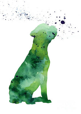 Boxer Dog Mixed Media - Boxer Dog Silhouette Large Poster by Joanna Szmerdt