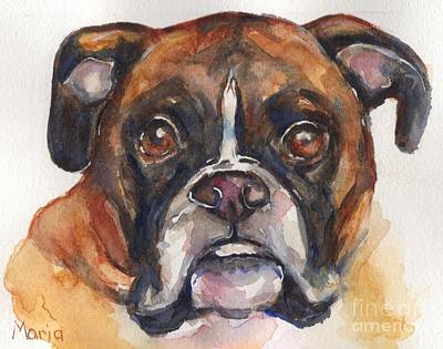 Boxer Painting - Boxer Dog Watercolor by Maria's Watercolor