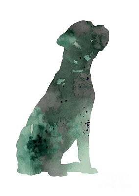 Boxer Dog Mixed Media - Boxer Figurine Painting Watercolor Art Print by Joanna Szmerdt