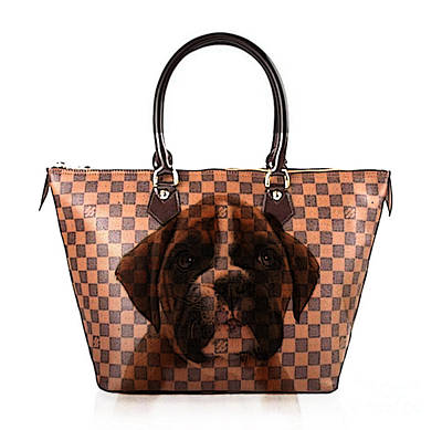 Boxer Mixed Media - Boxer Pup Hand Bag Painting by Marvin Blaine