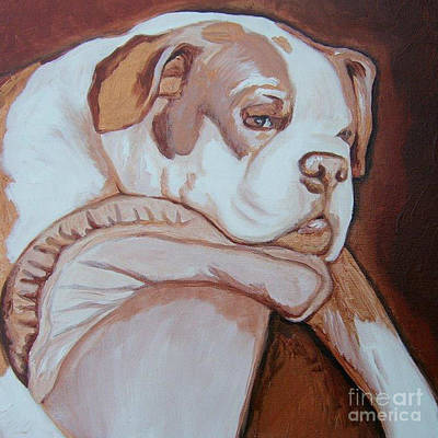 Boxer Painting - Boxer's Day Off by Holly Picano