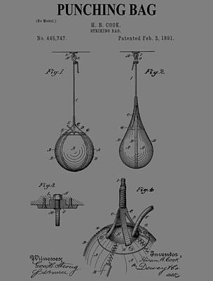 Punching Drawing - Boxing Bag Patent by Dan Sproul