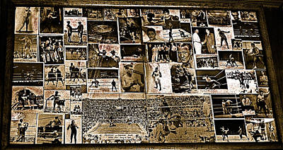 Jack Dempsey Photograph - Boxing Collage Virginian Hotel Saloon Medicine Bow Wyoming 1971-2008 Sepia Toned by David Lee Guss