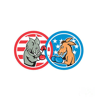 Boxing Democrat Donkey Versus Republican Elephant Mascot Print by Aloysius Patrimonio