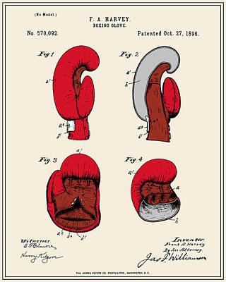 Boxing Gloves Digital Art - Boxing Glove Patent - Colour by Finlay McNevin