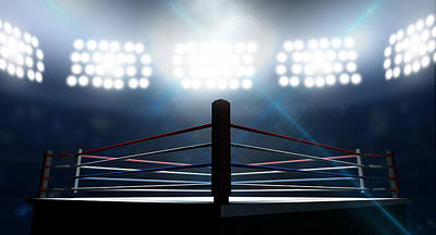Fight Digital Art - Boxing Ring In Arena by Allan Swart