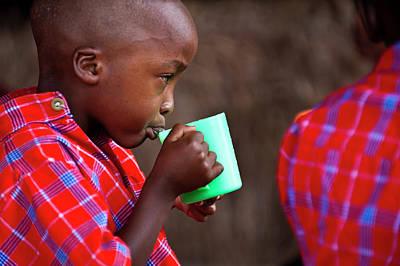 Boy Drinking Print by Matthew Oldfield