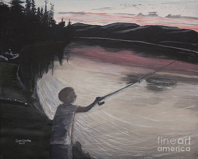 Boy Fishing And Sunset Print by Ian Donley