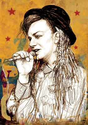 Boy George - Stylised Drawing Art Poster Print by Kim Wang