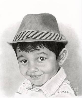 White Drawing - Boy In Fedora by Sarah Batalka
