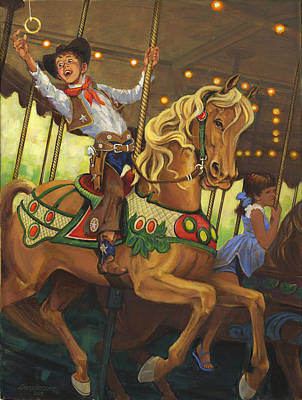 Boy On Carousel Horse Print by Don  Langeneckert