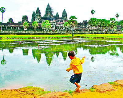 Angkor Digital Art - Boy Playing By The Moat In Angkor Wat In Angkor Wat Archeological Park Near Siem Reap-cambodia by Ruth Hager