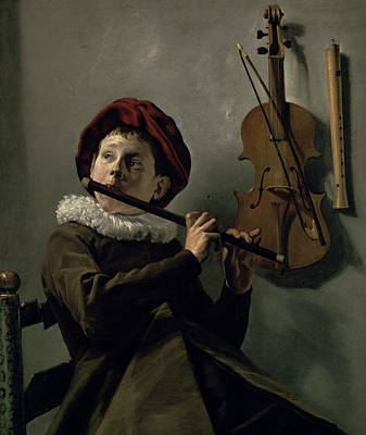Boy Playing The Flute Print by Judith Leyster
