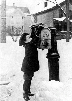 Mail Box Photograph - Boy Puts Letter Into Mailbox, C. 1880 by Photo Researchers