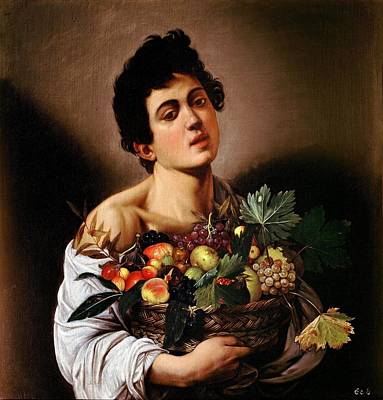 Caravaggio Painting - Boy With A Basket Of Fruit by Caravaggio