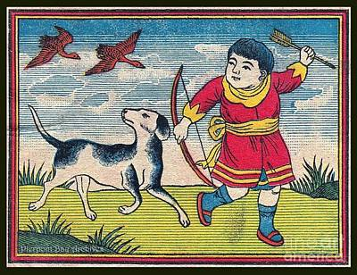 Boy With Dog Ducks Hunting. Bow And Arrow. Landscape. Matches. Match Book Antique Matchbox Cover. Print by Pierpont Bay Archives