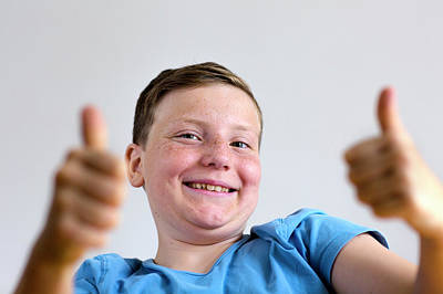 Freckles Photograph - Boy With Thumbs Up by Gombert, Sigrid