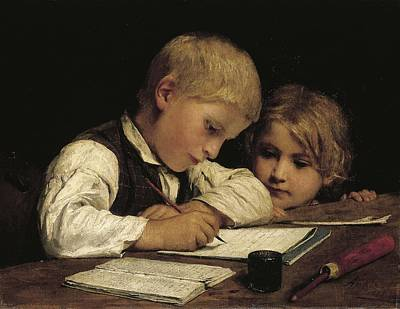Boy Writing With His Sister, 1875 Oil On Canvas Print by Albert Anker