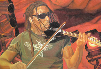 Violin Drawing - Boyd Tinsley At Red Rocks by Joshua Morton