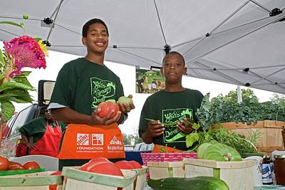 Locally Grown Photograph - Boys At A Farmers Market by Jim West