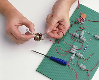 Resistor Photograph - Boy's Hands Attaching Wires by Dorling Kindersley/uig