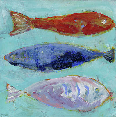Red White And Blue Painting - Boys Nautical Fish by Pamela J. Wingard