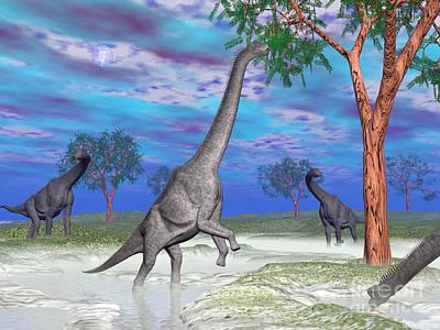 Reaching Up Digital Art - Brachiosaurus Dinosaurs Grazing by Elena Duvernay