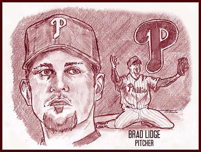 Philly Drawing - Brad Lidge by Chris  DelVecchio