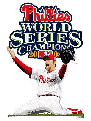 Brad Lidge Ws Champs Logo Print by Scott Weigner