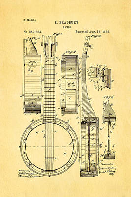 Bradbury Banjo Patent Art 1882 Print by Ian Monk