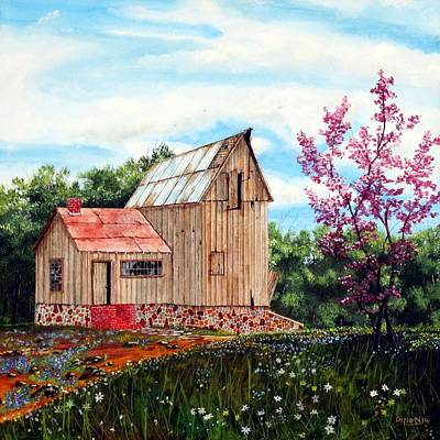 Tree Roots Painting - Bradford's Barn by Michael Dillon