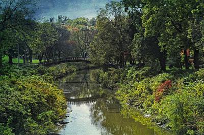 Garden Scene Mixed Media - Bradley Park Japanese Bridge 05 Textured by Thomas Woolworth
