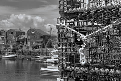 Rockport Photograph - Bradley Wharf In Black And White by Joann Vitali