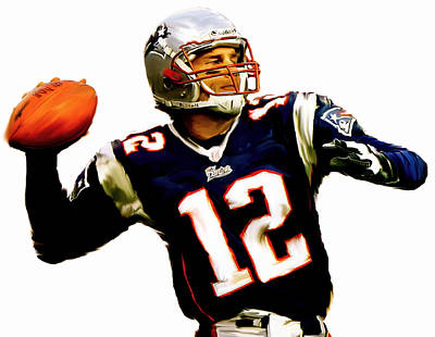 Football Art Drawing - Brady  Tom Brady  by Iconic Images Art Gallery David Pucciarelli