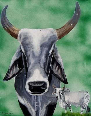Brahma Bull Print by Debbie LaFrance