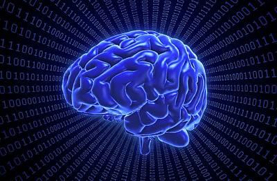 Brain And Binary Code Print by Andrzej Wojcicki