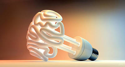 Brain Flourescent Light Bulb Print by Allan Swart