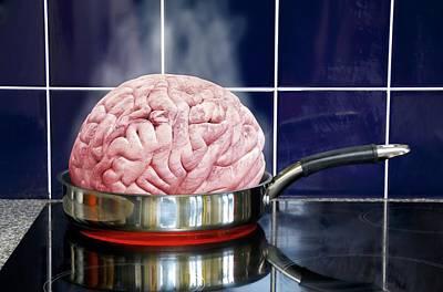 Human Brain Photograph - Brain In Frying Pan by Victor De Schwanberg