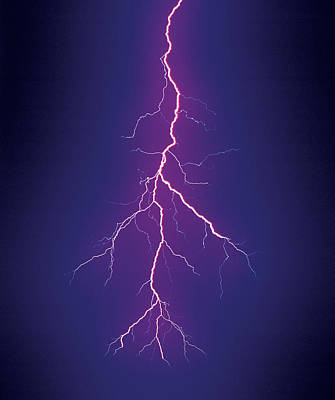 Lightning Bolt Photograph - Branched Cloud-to-ground Lightning by Thomas Wiewandt