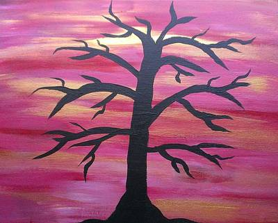 Black Painting - Branching Out Silhouette  by Kevin  Ramlogan
