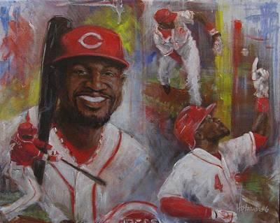 Athletes Painting - Brandon Phillips by Josh Hertzenberg